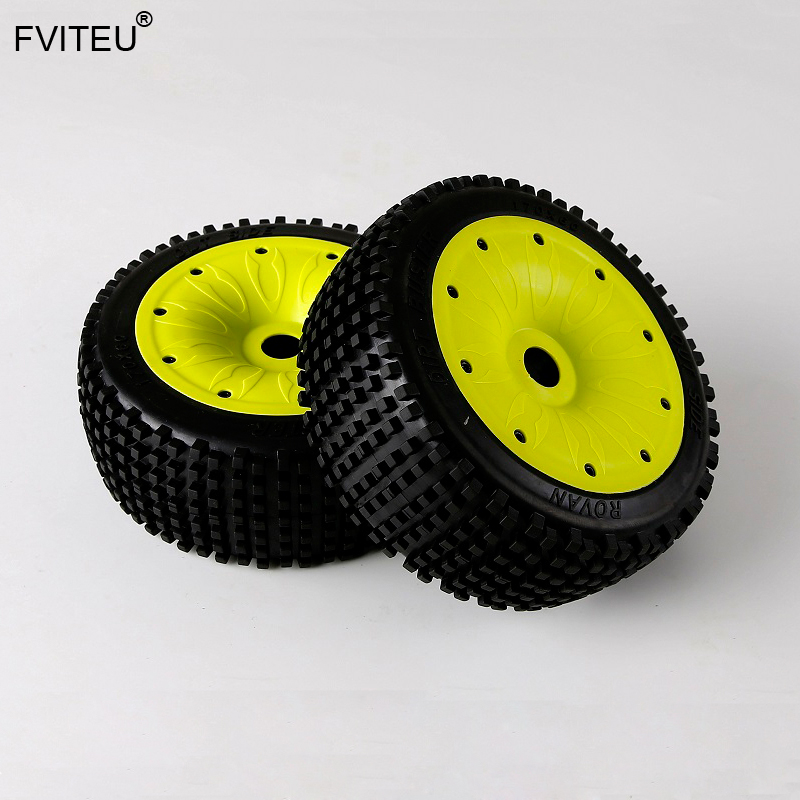FVITEU Rubber Sealing Rim Small Nails Tire Set Fit 1 5 LOSI 5ive T 5T Truck