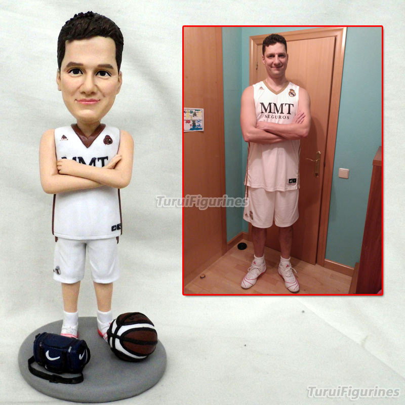 OOAK hand sculpted custom polymer clay basketball player figurines doll customized boy dog mini statue by Turui Figurines Design