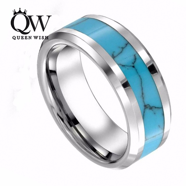 Queenwish 8mm Mens Womens Tungsten Blue Turquoise Inlay Wedding Band Infinity Promise Rings Vintage Jewelry