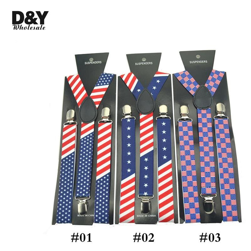 New Suspensorio Men Women Clip-on Braces 2.5cm 4 Designs USA American Flag Suspender Elastic Slim Suspenders Y-back Belt  Strap