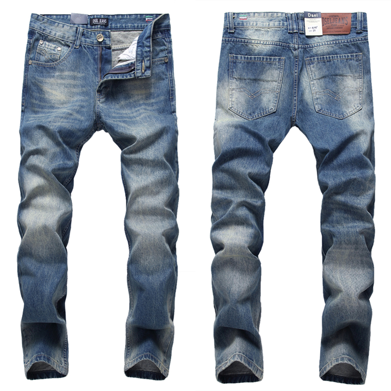 2017 Pure Blue Men`s Jeans High Quality Regular Straight Jeans Denim Trousers Mid Stripe Dsel Brand Jeans Men 29-40 D616 patch jeans ripped trousers male slim straight denim blue jeans men high quality famous brand men s jeans dsel plus size 5704