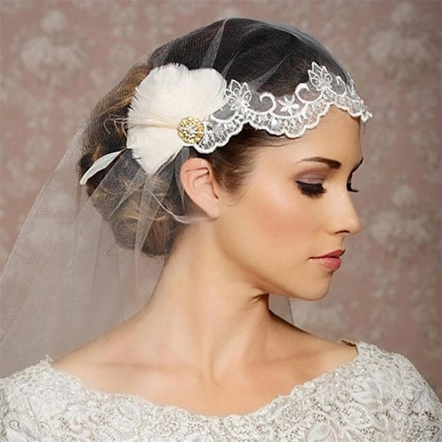 Ivory 1.5 Meters America Tulle Lace Feather Wedding Veils Chic Crystal Bridal Cap Veils XBV01