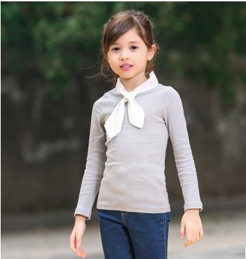 2016 Spring and Autumn New Fashion Casual Cotton T-Shirt w/ Bowknot Collar for Kids and Baby Girls HZ1062