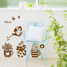 creative funny flower pot plant DIY home decal wall sticker living room window warm decoration removable stickers mural art