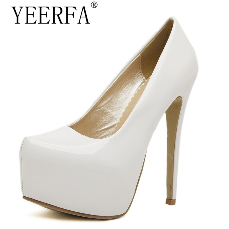 Plus size :35-44 zapatos mujer 15cm thin high heels Patent leather platform wedding shoes woman sexy Crossdresser SM pumps cdts 35 45 46 summer zapatos mujer peep toe sandals 15cm thin high heels flowers crystal platform sexy woman shoes wedding pumps