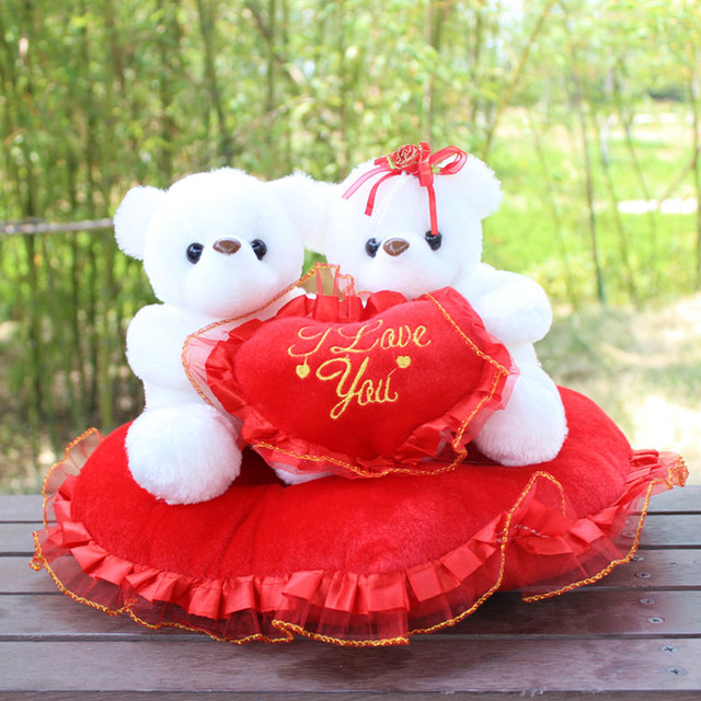 Lovely Bear Couple On Pillowplush Dollbirthdaywedding Gift For