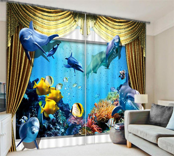 Dolphin Digital Print 3D Blackout Curtains kids For Living room Bedding room Drapes Cotinas para sala