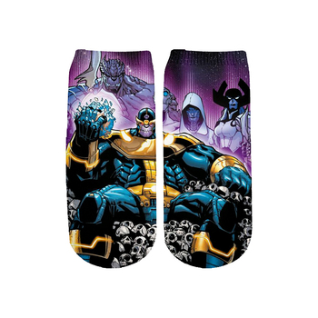 цена Men/women Kids Thanos Marvel Avengers 4 3D Print Short Socks cartoon Hulk Batman Superman SpiderMan Captain America cute socks онлайн в 2017 году