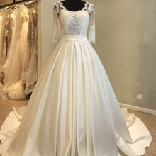 kissbridal Elegant Half Sleeve Wedding Dress O-neck Trains