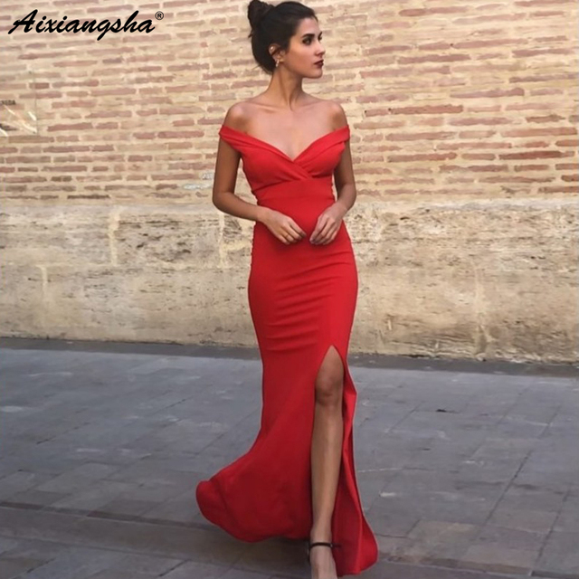 Sexy Sheath Off-the-Shoulder Floor Length Red Prom Party Dress with Split Simple Long Evening Dress