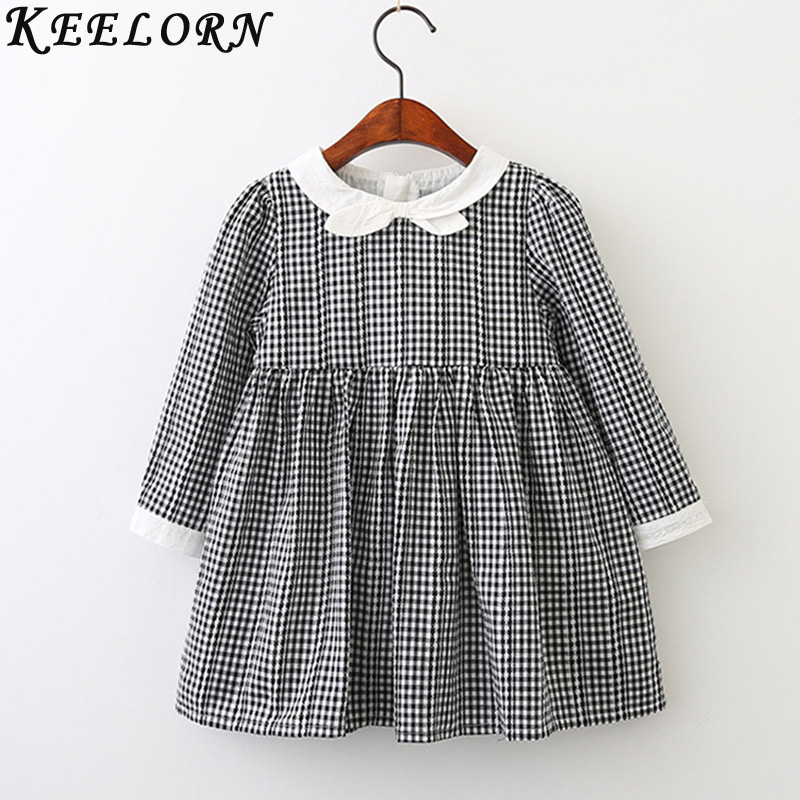 Keelorn girls dresses 2017 Aytumn Kids clothes cute princess dress plaid printing girls dress Fashion style girls clothes 3-7y keelorn girls dress 2017 brand princess dresses kids clothes sleeveless banana leaf pattern print design for girls clothes