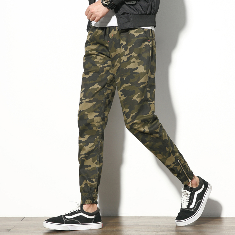 2017 New Mens Joggers Pants Fashion Army Camouflage Casual Pants Men Military Mens Trousers Zipper Design Cuff Harem Pants Boys