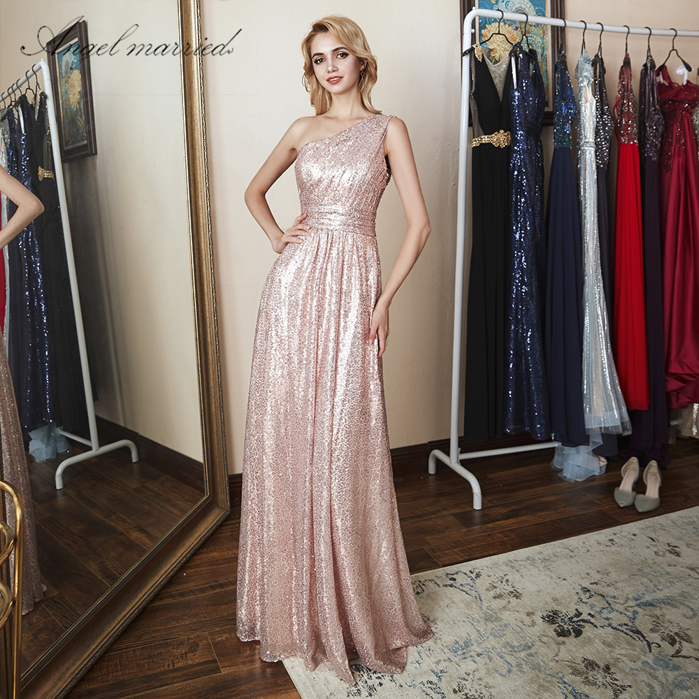 Angel married   bridesmaid     dress   bling bling champagne wedding party   dress   formal party gown vestido de festa 2018