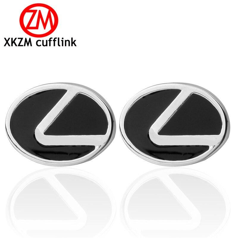 XKZM Luxury shirt silver round black car cufflink for mens Brand cuff buttons cuff links High Quality abotoaduras Jewelry