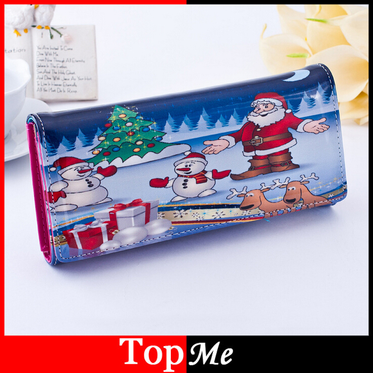 Women Wallets Patent PU Leather Long Coin Purse Santa Moneybags Lady Handbag Clutch Wallet Cards Holder Burse Bag Christmas Gift