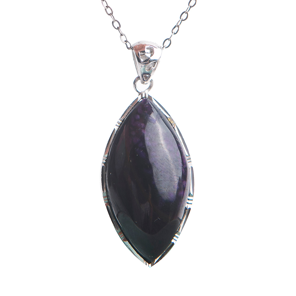 Fashion Sterling Silver Jewelry Pendants Natural Sugilite Gem Crystal Teardrop Stone Beads Pendant Necklace Female 33*18*10mm teardrop faux crystal pendant necklace