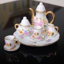 New Arrivals Dollhouse Miniature Dining Ware Porcelain Tea Set Dish Cup Flower Pattern Miniaturas Tea Set Dish Cup Plate