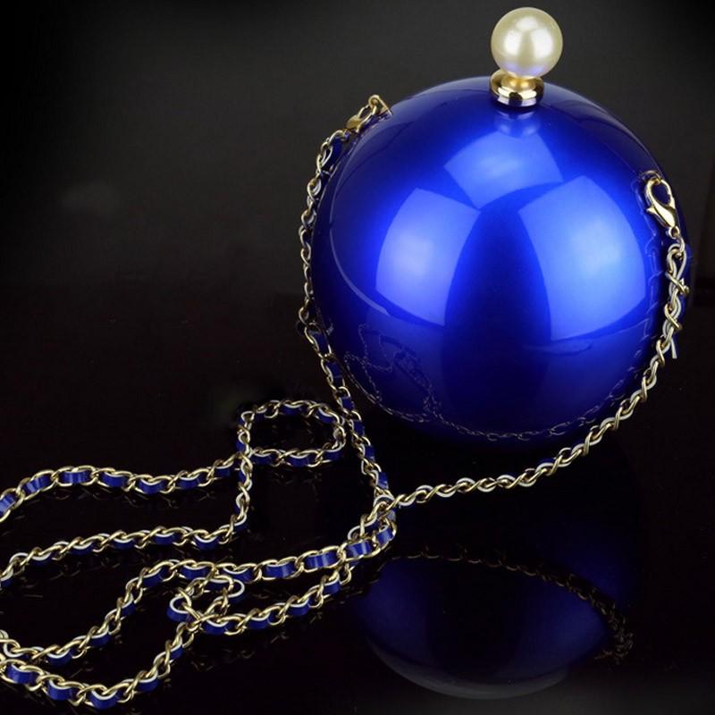 Pearl round bag chain ball party black blue pink gold purses and handbags bridal purse clutch perola white wedding bag XA1111A (7)