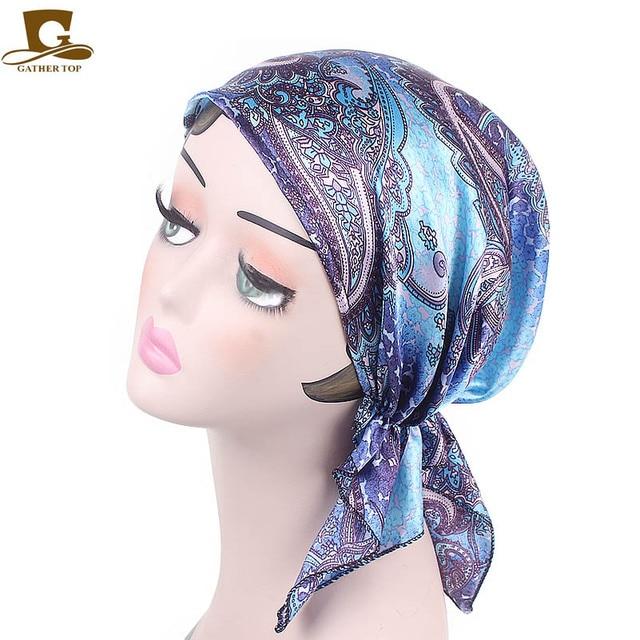 New fashion Women s Soft Satin Lined Hat Silky Night Sleeping Cap Hair Wrap  Turban Hat Beanie Satin Bonnet Pre Tied Cap Turban d397cecc69b5