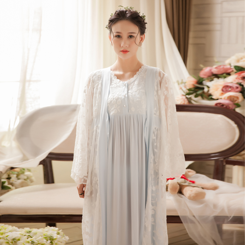 Women Robe Set Nightgowns Sleepshirts Home Dress Sleep Nightdress Sexy 2 Pcs Set Long Sleepwear Female Nightgown 2018 New Spring