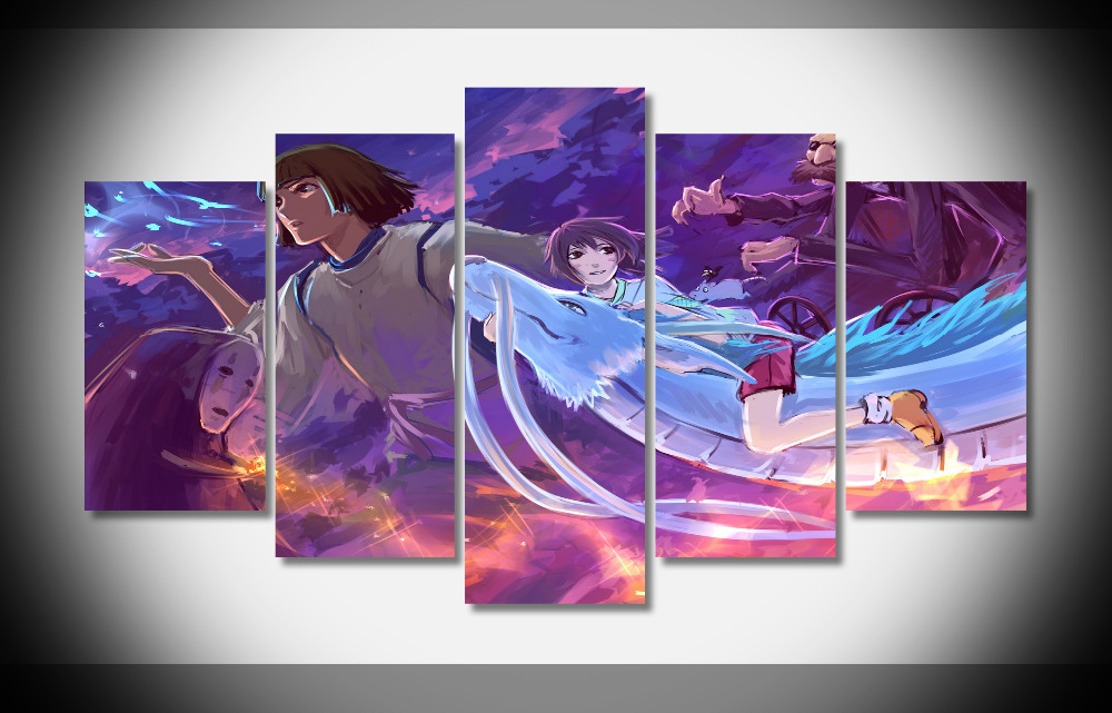 8311 Spirited Away Hayao Miyazaki Cute Japan Anime Movie poster Framed Gallery wrap art print home wall decor wall picture