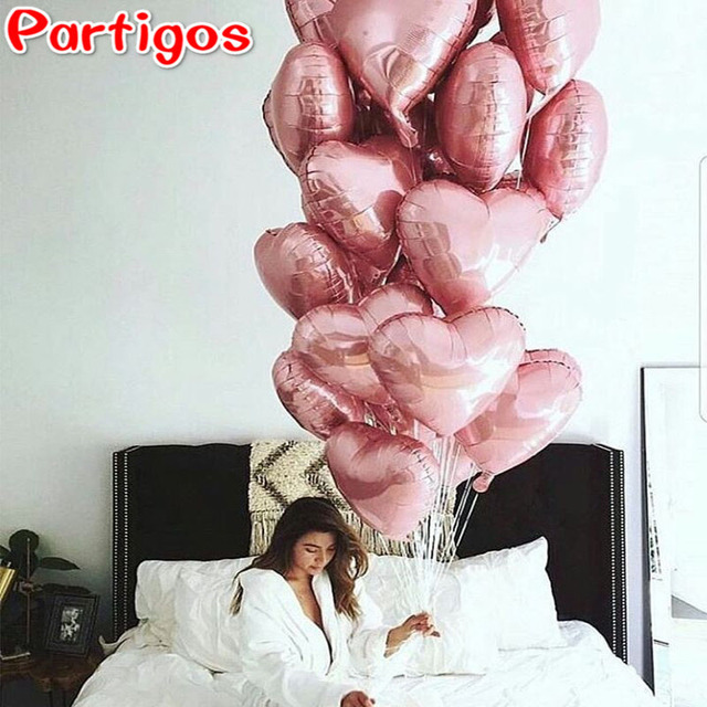 10pcs 18inch Rose Gold Red Pink Love Foil Heart Helium Balloons Wedding Birthday Party Balloons Valentine's Day Globos Supplies