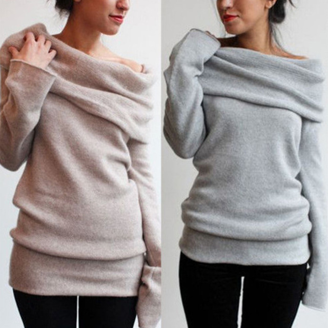 0a68353ad8fc Long Sleeve Pullover Coat Women Cowl Neck Off Shoulder Boho Chic Sweater  Oversize Jumper Top Winter Sweatershirt Blouse