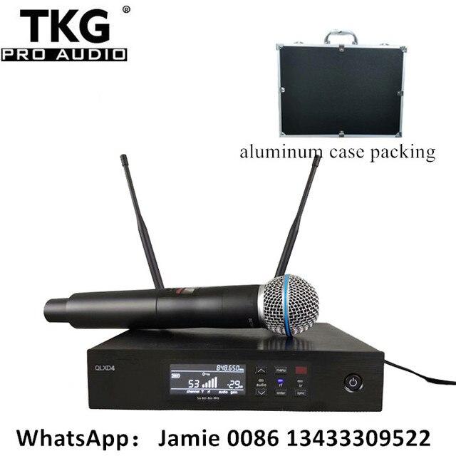 มืออาชีพเวทีเสียงประสิทธิภาพระบบคาราโอเกะ QLXD4 ไมโครโฟนไร้สาย UHF True Diversity SingleHandheld ไมโครโฟน