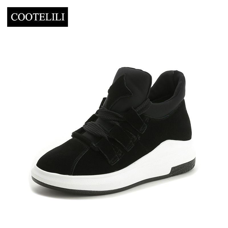COOTELILI Women Sneakers Flat Platform Woman Creepers   Suede     Leather   Female Oxfords Lace up Ladies Casual Shoes Black Red