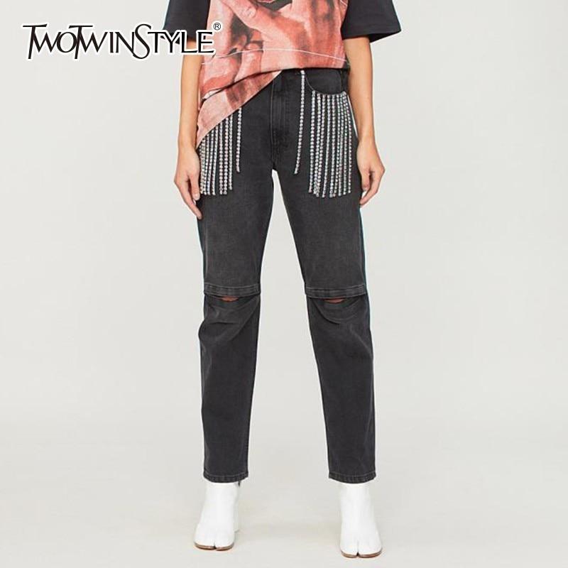 TWOTWINSTYLE Tassel Diamond Denim Pants Women Patchwork Hollow Out Jeans Trousers Female 2019 Autumn Streetwear Clothing Tide