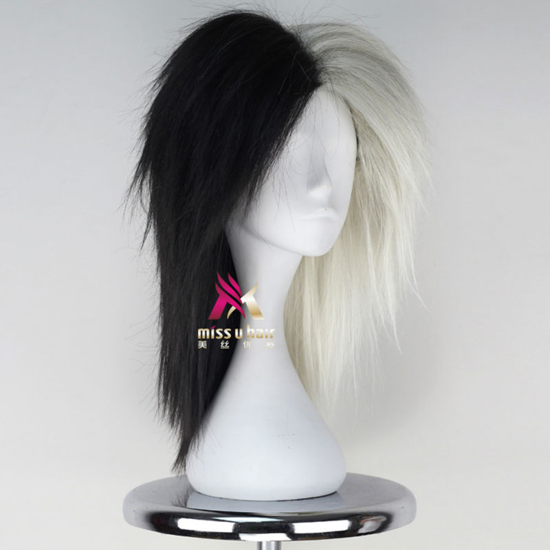 Miss U Hair High Temperature Fiber Half Black Half Blonde White Hair Medium Kinky Straight Cosplay Costume Party Wig For Women Synthetic None-lacewigs