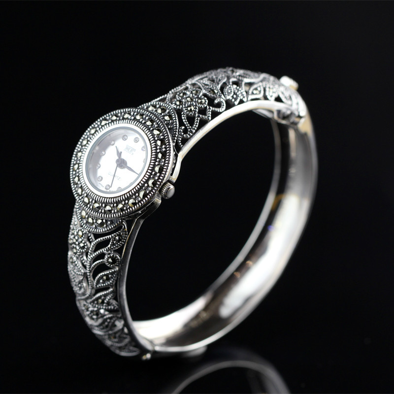 New Arrival Limited Classic S925 Silver Jewelry Watch Pure Thai Silver Bracelet Watches Hot Sale Real