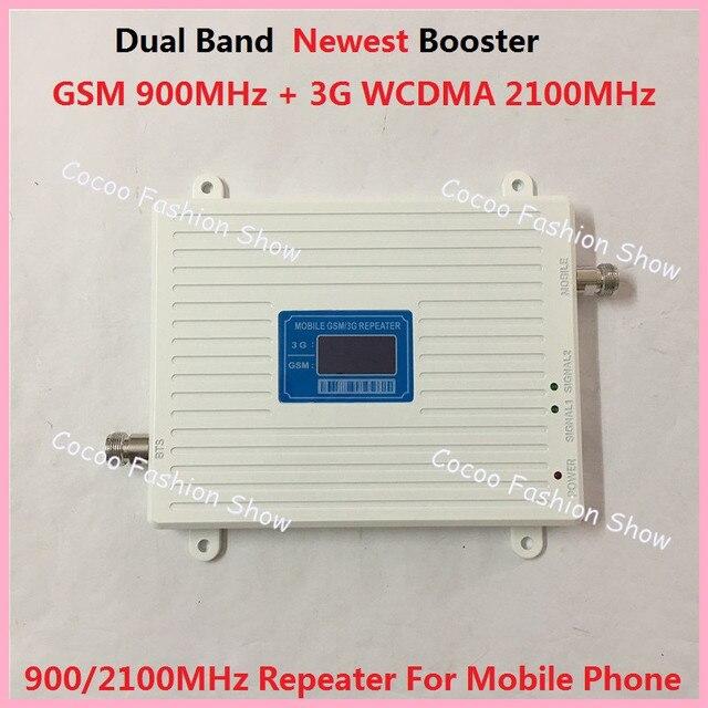 Display LCD! mais novo 2G GSM 3G W-CDMA 900 2100 MHz Amplificador de Sinal De Reforço Dual Band GSM 3G de Telefonia móvel Repetidor de sinal + Power