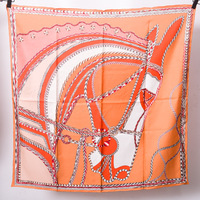Orange Horse Head Scarf Women Brand Design 90*90cm Pure Twill Silk Scarf 14m/m Square Bandana Headband Hairband