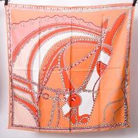 Orange Horse Head Scarf Women Brand Design 90*90cm Pure Twill Silk Scarf 14m/m Square Bandana Headband Hairband