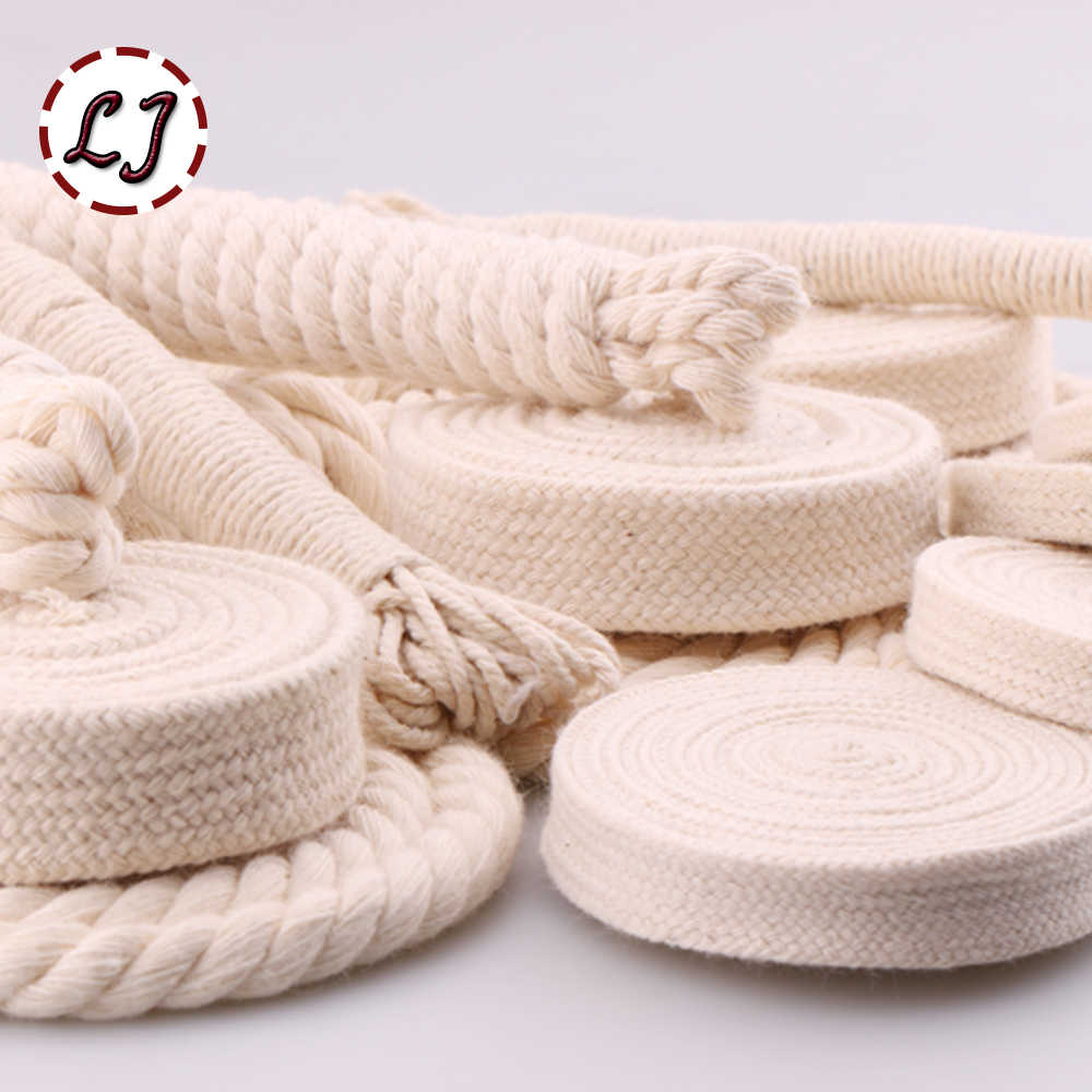 5yd/lot high strength natural color 3ply round flat Rope 100% cotton Cords for home handmade garment accessories Craft Projects