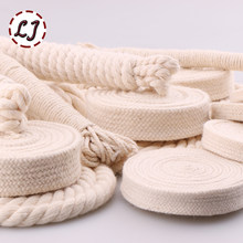 5yd/lot high strength natural color 3ply round flat Rope 100% cotton Cords for home handmade garment accessories Craft Projects(China)