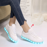 Size 27 44 Plush Warm USB Recharge LED Shoes Glowing Sneakers Luminous Girl Boy Chaussure LED