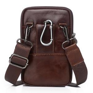 Image 3 - Men Bags Genuine Leather Waist Pack Shoulder Crossbody Bags CrossbMessenger Bag Men Shoulder Bags Phone Pouch Male zznick