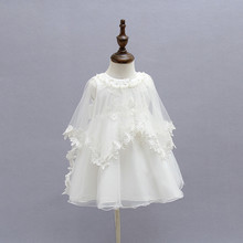 Baby Girl Dress 2018 white baby Dress Tutu shawl Infant Dres