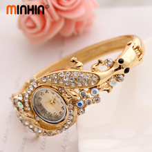 Luxury Rhinestone Bracelet Gold Watch