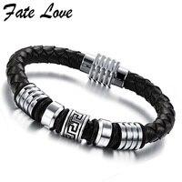 Pulseras Mens Leather Bracelet Handmade Vintage Fashion Men Jewelry Charm Bracelets Bangles Stainless Steel Magnetic Clasp