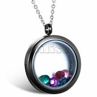Multi Colored Crystal Floating Locket Memory Living Pendant Necklace For Women Ladies Round Frame 18 inch Chain Necklaces