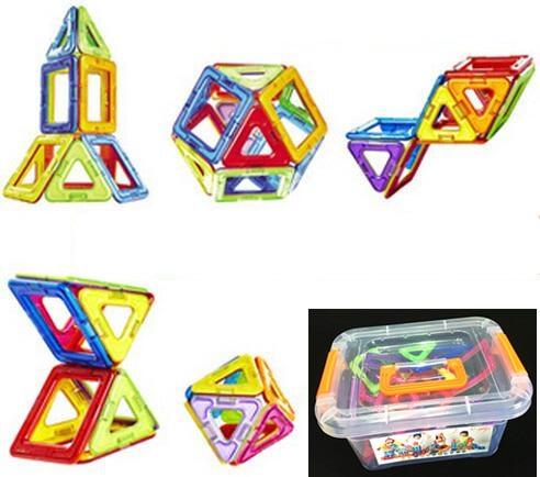 Plastic box 14Pcs set Magnetic Building Block 3D Blocks DIY Kids Toys Educational Model Building Kits