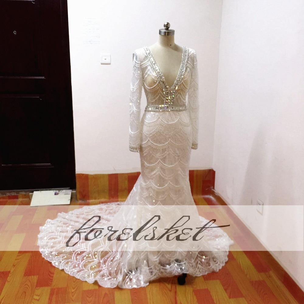 Högkvalitativa sjöjungfrun brudklänningar 2017 tunga pärlor - Bröllopsklänningar - Foto 5