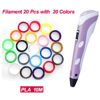 3D Pen 2nd Generation LED Display DIY 3D Printer Pen With 20Color 100M ABS PLA Filament