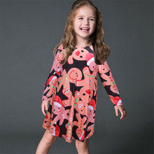 Christmas Day Clothes Kids Girls Long Sleeve O Neck Santa Claus Snowman Elk Print Dress