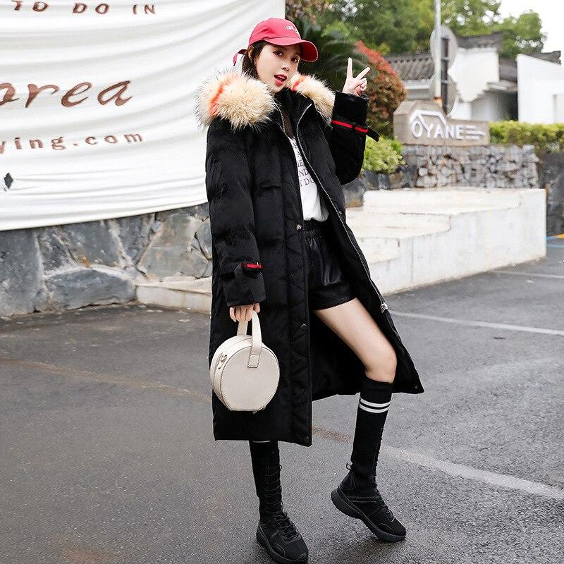 Nouvelle 200 Engrais Velours Extra Coton Manteau Plus De Noir Large Veste Mm D'hiver Mince Lâche Graisse Taille Femmes Kg nPwFP0rx7q