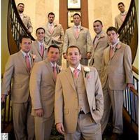 2017 последние конструкции пальто брюки хаки Нарядные Костюмы для свадьбы для Для мужчин дружки смокинг Slim Fit 3 предмета на заказ Пром пиджак Т