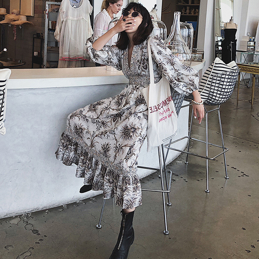 TEELYNN vintage cotton Beige floral print boho dress sexy v-neck lantern sleeves party dresses splice lace long women dresses outfits para playa mujer 2019